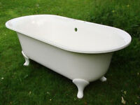 Bath - Victoria & Albert (V&A) - free-standing Victorian double ended roll top bath with ball feet.