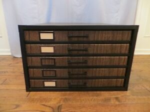 5-Drawer Black & Walnut Cardboard Flat File