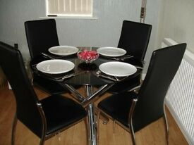 Black Glass / Chrome Circular Dining Table + 4 Chairs