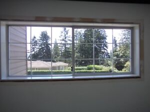 3 large windows/casing/trim/blinds