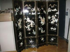 Black Lacquered Chinese Screen