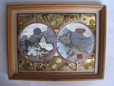 A New And Accvrat Map Of The World 1626.Antique Year 1626 Map Gold Foil Engraving Framed In
