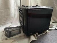 "For Sale Retro 9"" Phillips Portable CRT Cube TV Radio Cassette"