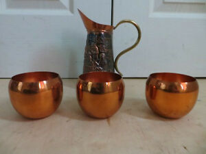 Brass Tea Pot with 3 Cups London Ontario image 2