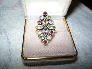 Silver ring with real stones Cambridge Kitchener Area image 1