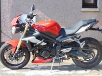 RED TRIUMPH STREET TRIPLE, 15 PLATE, EXCELLENT CONDITION, LOW MILEAGE, £7000 ONO