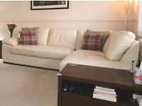Next - Real Leather Corner Chaise Sofa - Bosworth II - Cream - Right Hand (4 seats)