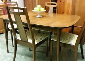 Mid century modern dining table & chairs