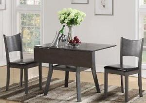 Grey drop leaf table w/ storage under table and hardwood chairs