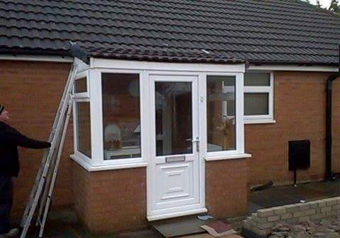 White pvc porch double glazed door windows in for Double glazed porches