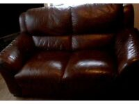 3+2 brown leather sofa's