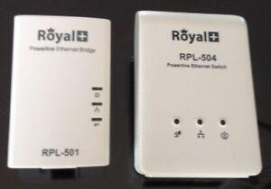 Royal+ Powerline Ethernet Bridge (RPL-501) and Switch (RPL-504).