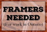 Framers Needed in Ontario (Full time w Travel and Accommodation)