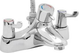 Deva Lever Action 3 Inch Thermostatic Bath Shower Mixer Tap - Chrome
