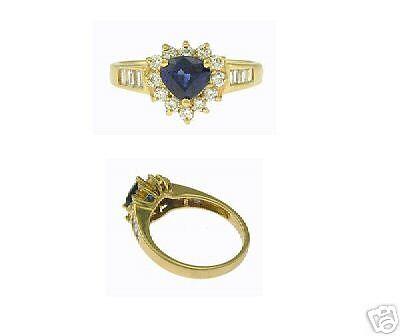 New 18kt Yellow Gold Diamond Sapphire Ring