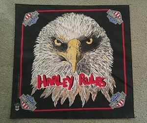 "Harley-Davidson Black Neckerchief Eagle ""Harley Rules"" 21"" x 22"""