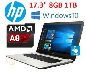 NEW OB HP AMD A8 17.3 TOUCH LAPTOP - 127810200 - AMD A8 1TB HDD 8GB MEMORY WINDOWS 10 COMPUTER NOTEBOOK PC