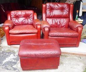 Harrods Vintage Red Buffalo Leather Suite Set