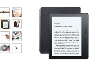 "Kindle Oasis E-reader with Leather Charging Cover - Black, 6"" Hi"