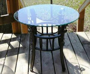 Beveled Glass and Bronze Metal Coffee Tables Perfect Condition