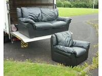 2+1 seater sofa in black leather £220 delivered