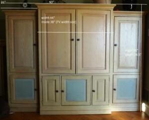 Solid Oak 3 pcs wall unit