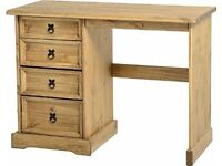 Corona 4 drawer dressing table distressed waxed pine - NEW in box