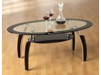 **100% GUARANTEED PRICE!**BRAND NEW-Solid Tempered Glass Elena Coffee Table-Same/Next Day Delivery