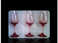 VINTAGE PINK WINE GLASSES - (3) - FOR SALE