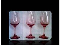 VINTAGE PINK WINE GLASSES - FOR SALE