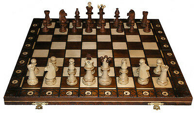 "SENATOR PLAYERS WOOD WEIGHTED CHESS SET - BROWN - 6"" FOLDING"