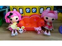 2 large lalaloopsy dolls with sofa and little toy..5 different sets to choose from