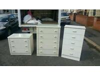 Glass top chest of drawers in solid white wood £45 a peice