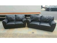 3+2 seater sofa in black leather £295 delivered