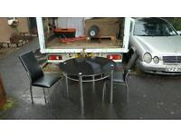 Black glass top table + 2 leather chairs £60 delivered