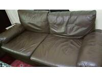 Brown 3 Seater & 2 Seater Sofa and table