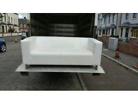 Very nice white leather 3 seater sofa £110 delivered