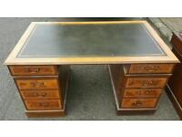 Two beautiful victorian leather top double pedestal desks and matching filing cabinet