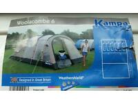 6 man tent with carpet. Only used once! Spacious, 2 bedrooms and walkway. Bargain!