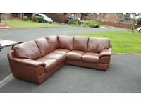 Brown leather corner suite in excellent condition £320 delivered