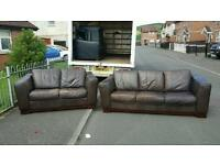 3+2 seater sofa in brown leather £195 delivered