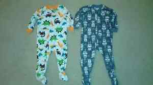 2 pairs of boys one-peice fleece pyjamas