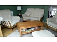 Wooden sofa and 2 chairs