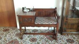Old Charm Oak Telephone Table with seat + Cushion