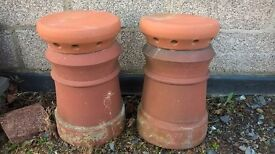 2 off used chimney pots c/w covers