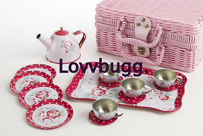 "Lovvbugg Kids Childs Roses n Dots Tin Tea Set for 18"" American Girl Doll Accessory"