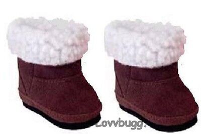 "Lovvbugg Brown Sherpa Shearling Ewe Uggly Boots for 18"" American Girl or Boy or Bitty Baby Doll Shoes"