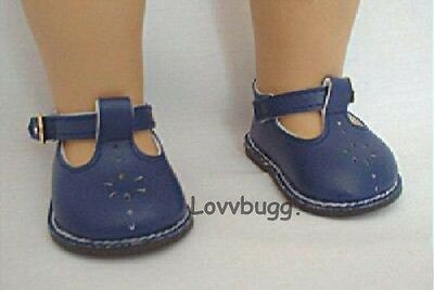 "Lovvbugg Navy Blue T-Strap Mary Janes for 18"" American Girl or Bitty Baby Doll Shoes"