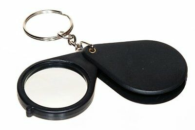 "Folding Pocket Magnifier Loupe 8X Magnifying Glass Lens 1.25"" w Keychain #MI118"