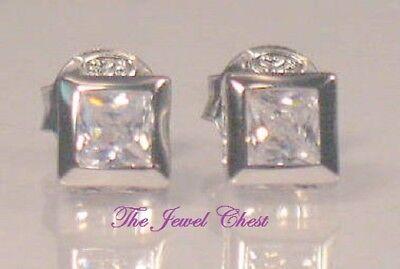 2Ct Princess cut Diamond Stud Post Earrings Bezel Set White Gold Platinum Finish